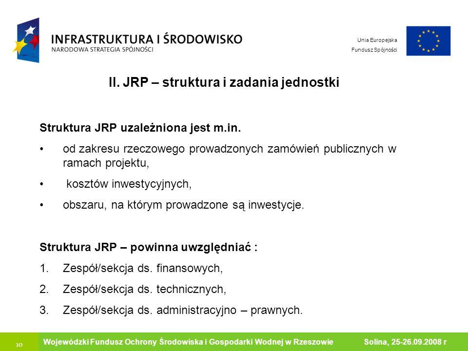II. JRP – struktura i zadania jednostki Ministerstwo Środowiska