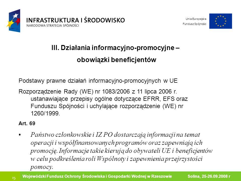 III. Działania informacyjno-promocyjne – obowiązki beneficjentów
