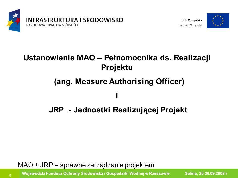 Ustanowienie MAO – Pełnomocnika ds. Realizacji Projektu