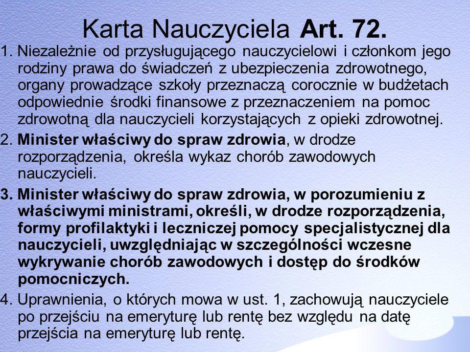 Karta Nauczyciela Art. 72.