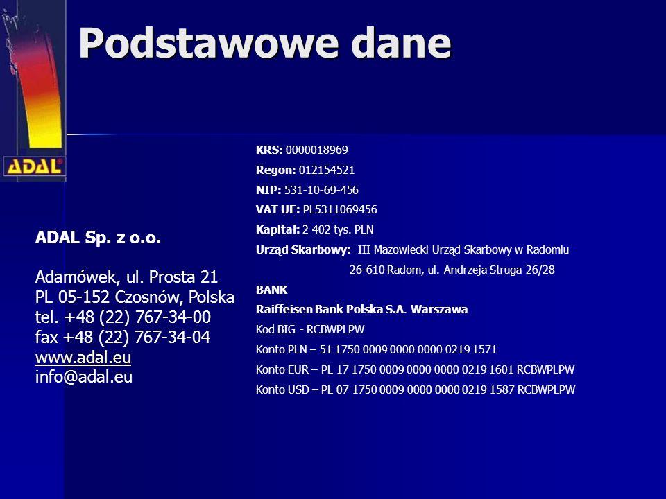 Podstawowe dane ADAL Sp. z o.o. Adamówek, ul. Prosta 21