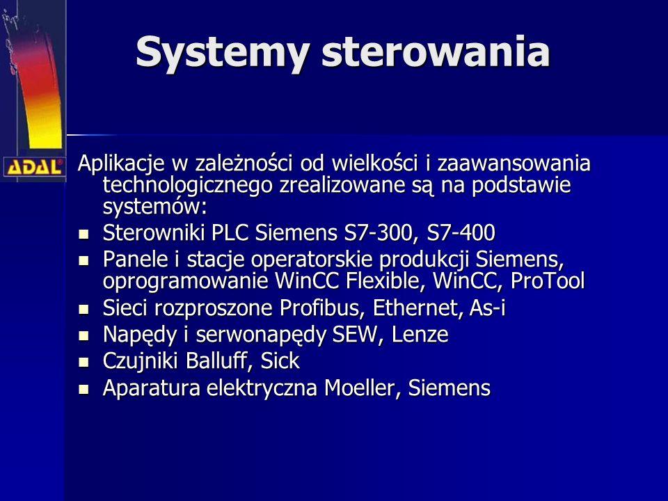 Systemy sterowania Aplikacje w zależności od wielkości i zaawansowania technologicznego zrealizowane są na podstawie systemów: