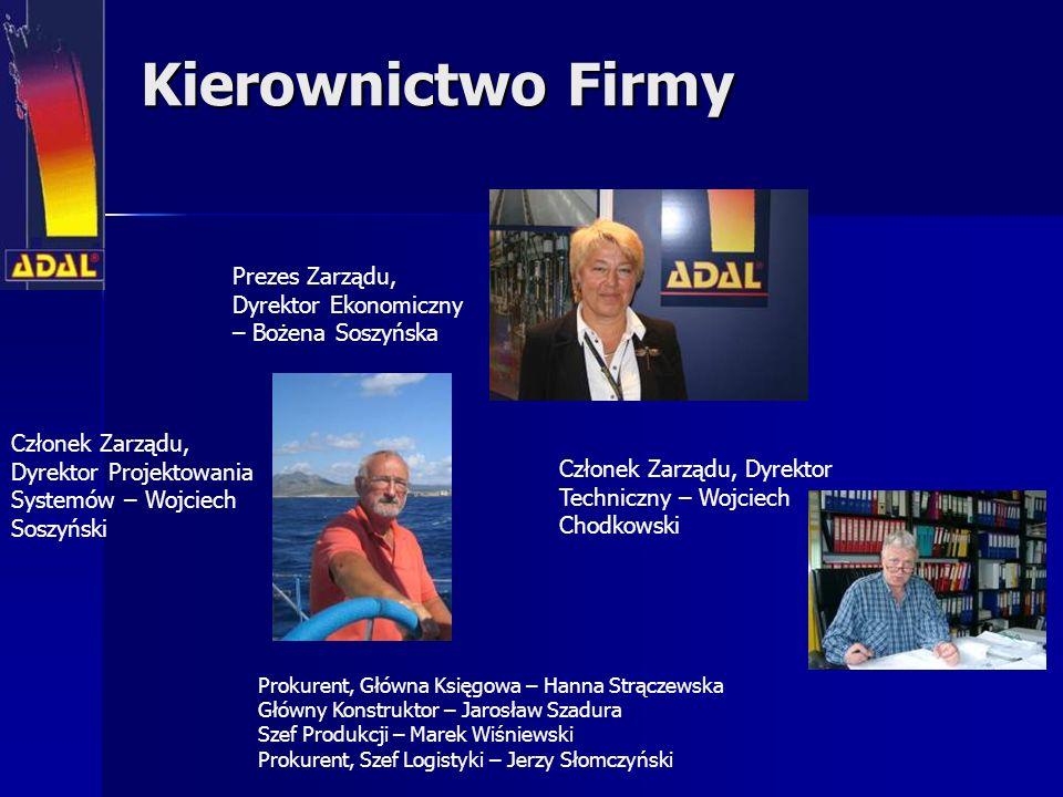 Kierownictwo Firmy Prezes Zarządu, Dyrektor Ekonomiczny – Bożena Soszyńska. Członek Zarządu, Dyrektor Projektowania Systemów – Wojciech Soszyński.