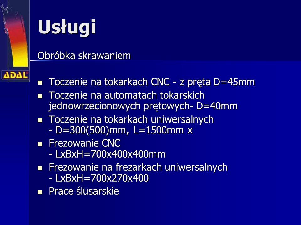 Usługi Obróbka skrawaniem Toczenie na tokarkach CNC - z pręta D=45mm