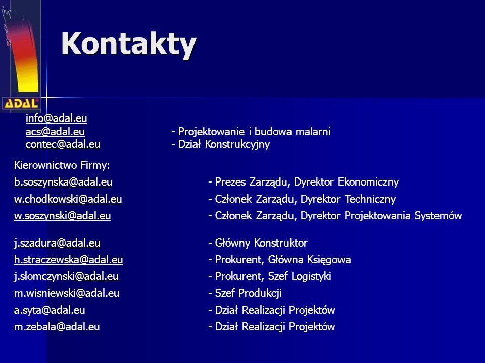 Kontakty info@adal.eu acs@adal.eu - Projektowanie i budowa malarni