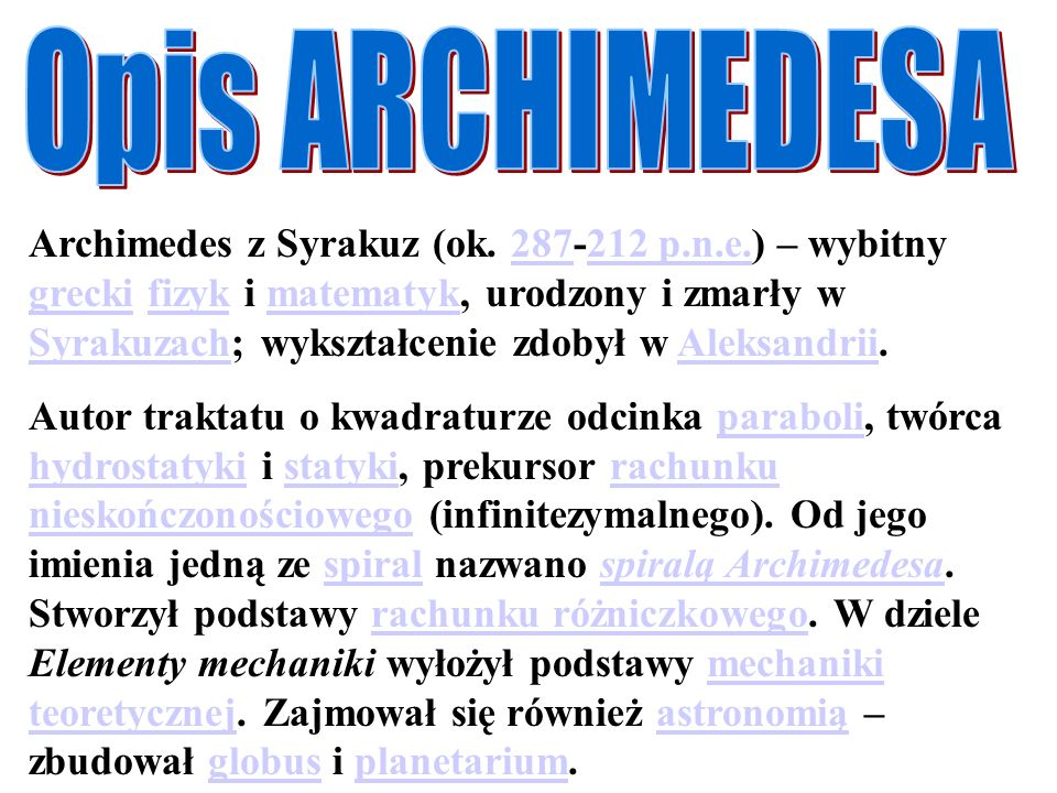 Opis ARCHIMEDESA
