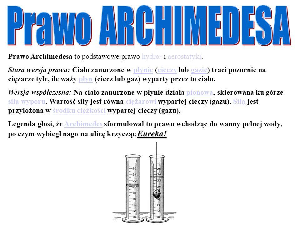 Prawo ARCHIMEDESA Prawo Archimedesa to podstawowe prawo hydro- i aerostatyki.