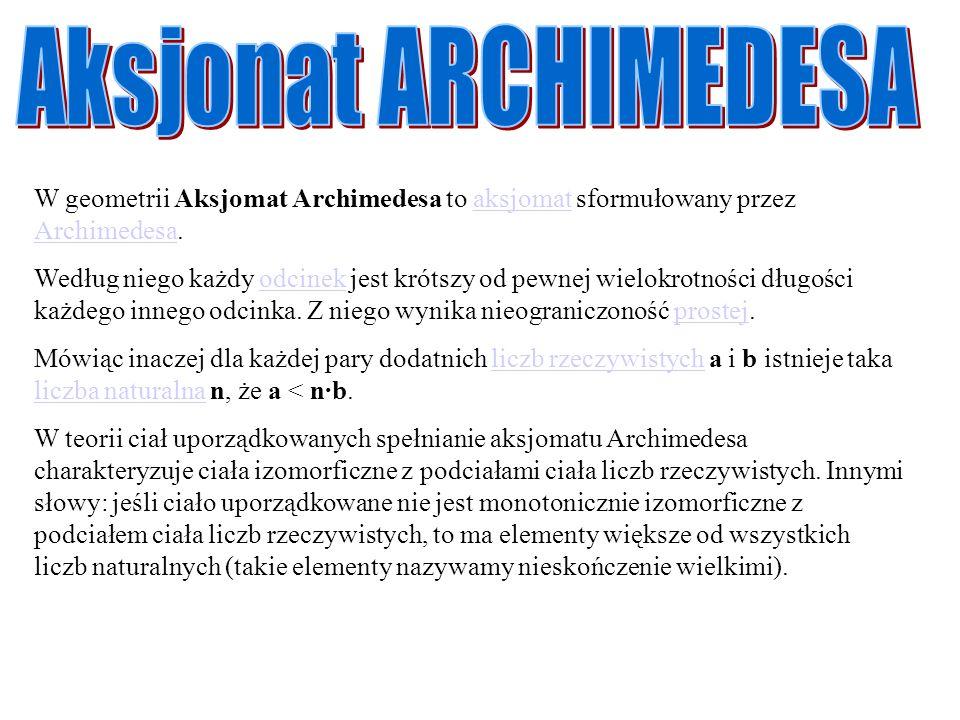 Aksjonat ARCHIMEDESA W geometrii Aksjomat Archimedesa to aksjomat sformułowany przez Archimedesa.