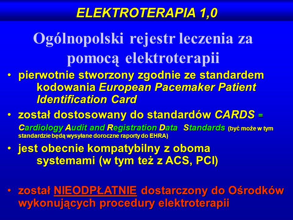 Ogólnopolski rejestr leczenia za pomocą elektroterapii