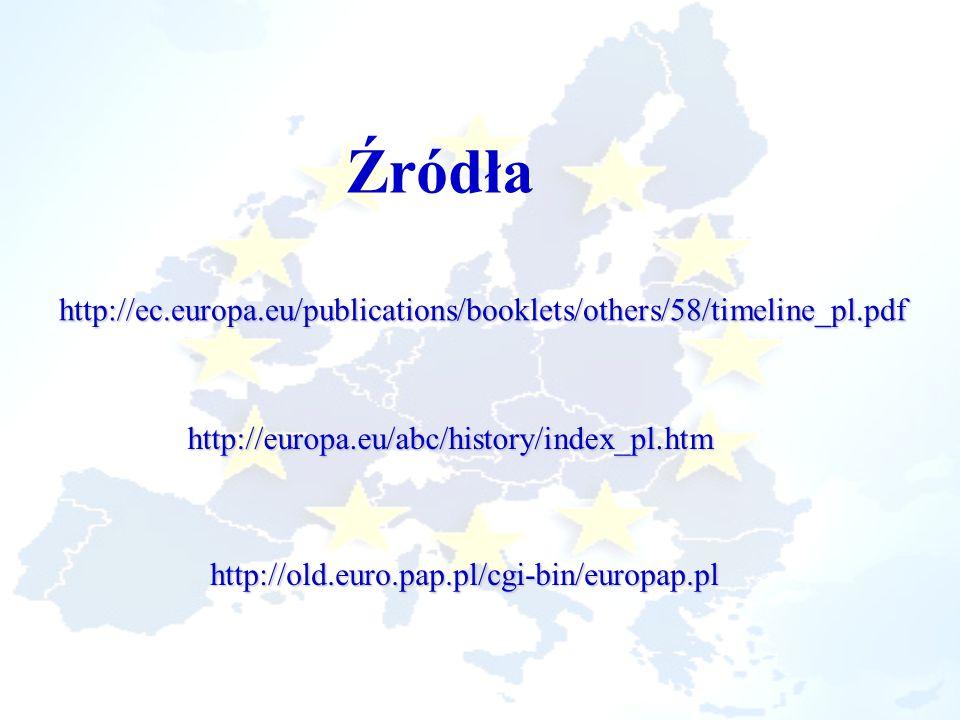 Źródłahttp://ec.europa.eu/publications/booklets/others/58/timeline_pl.pdf. http://europa.eu/abc/history/index_pl.htm.