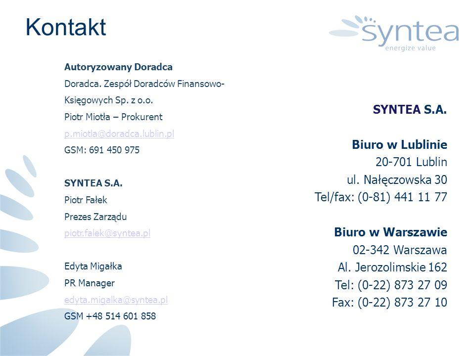Kontakt SYNTEA S.A. Biuro w Lublinie 20-701 Lublin ul. Nałęczowska 30