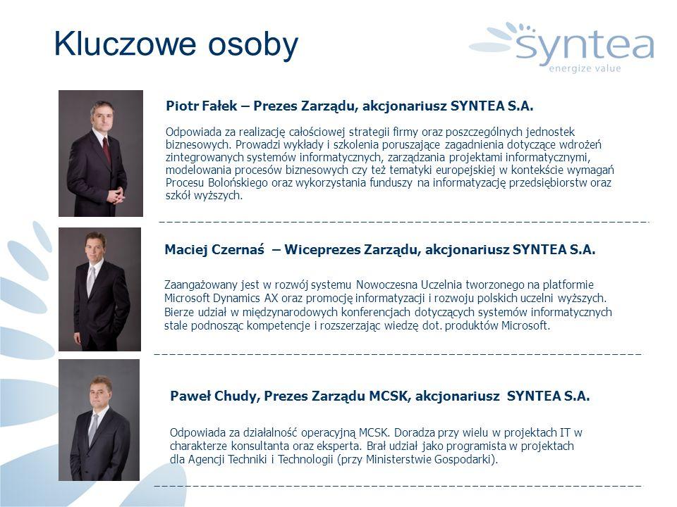Kluczowe osobyPiotr Fałek – Prezes Zarządu, akcjonariusz SYNTEA S.A.