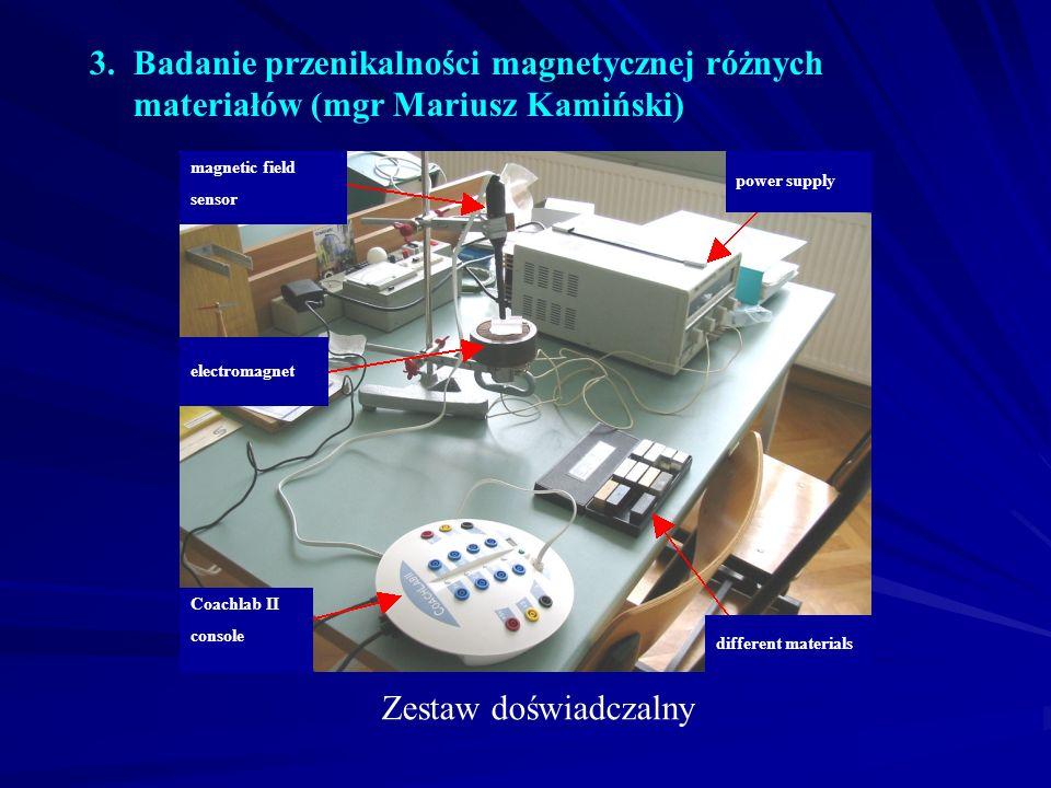 3. Badanie przenikalności magnetycznej różnych materiałów (mgr Mariusz Kamiński)