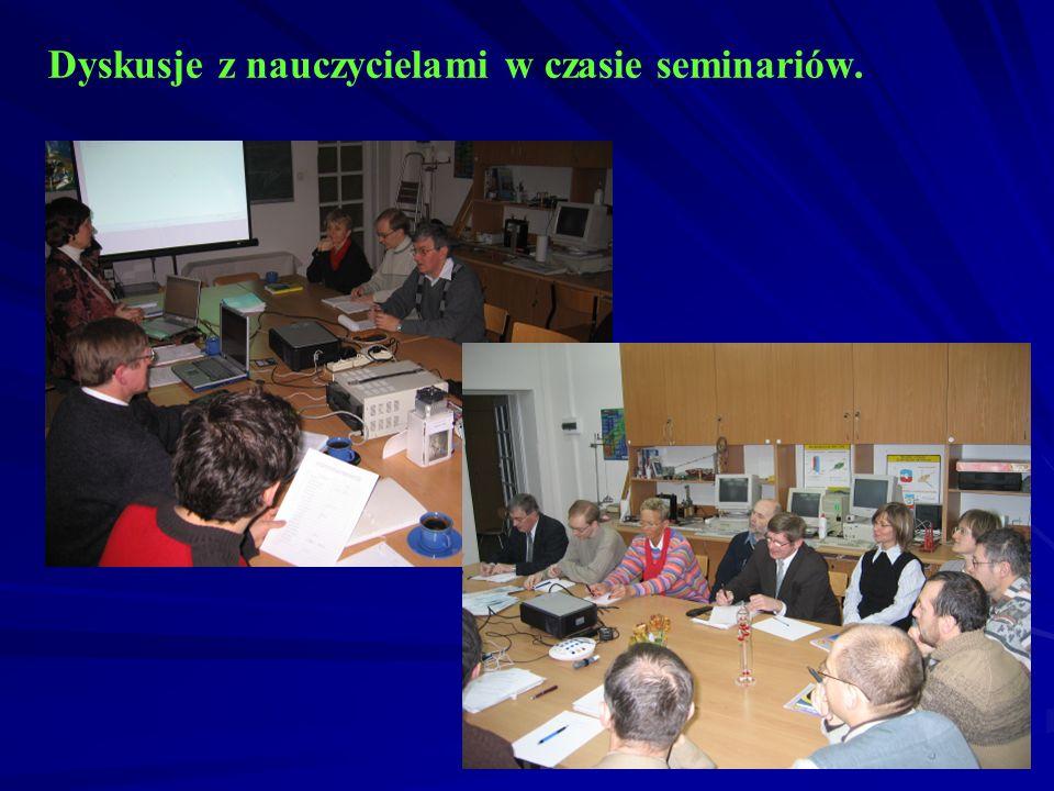 Dyskusje z nauczycielami w czasie seminariów.