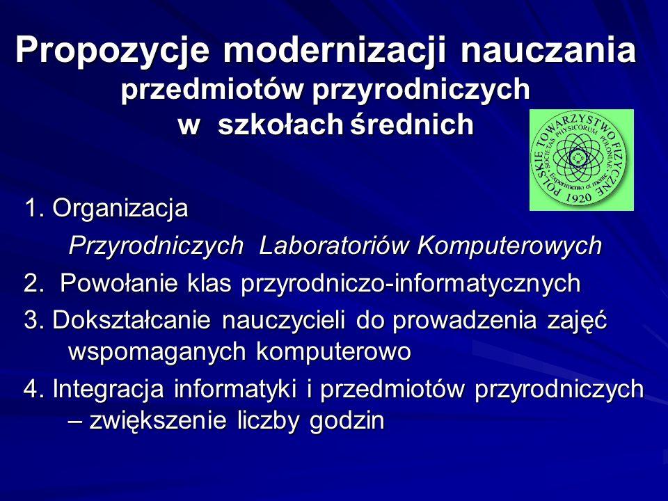 Propozycje modernizacji nauczania przedmiotów przyrodniczych w szkołach średnich
