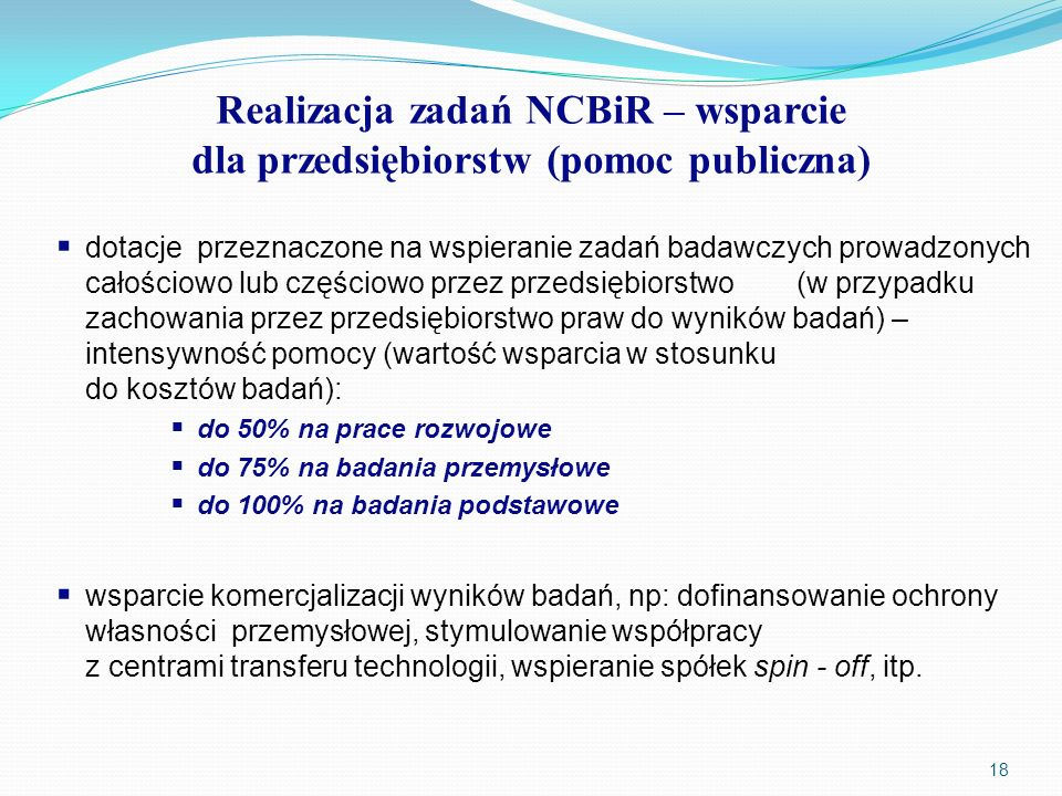 Realizacja zadań NCBiR – wsparcie dla przedsiębiorstw (pomoc publiczna)