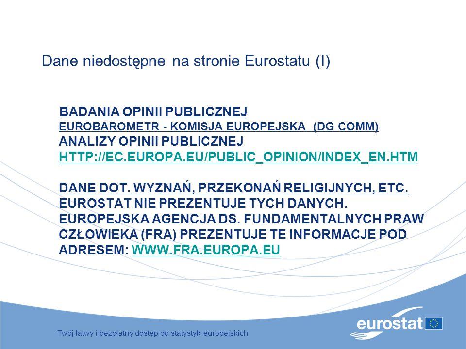 Dane niedostępne na stronie Eurostatu (I)