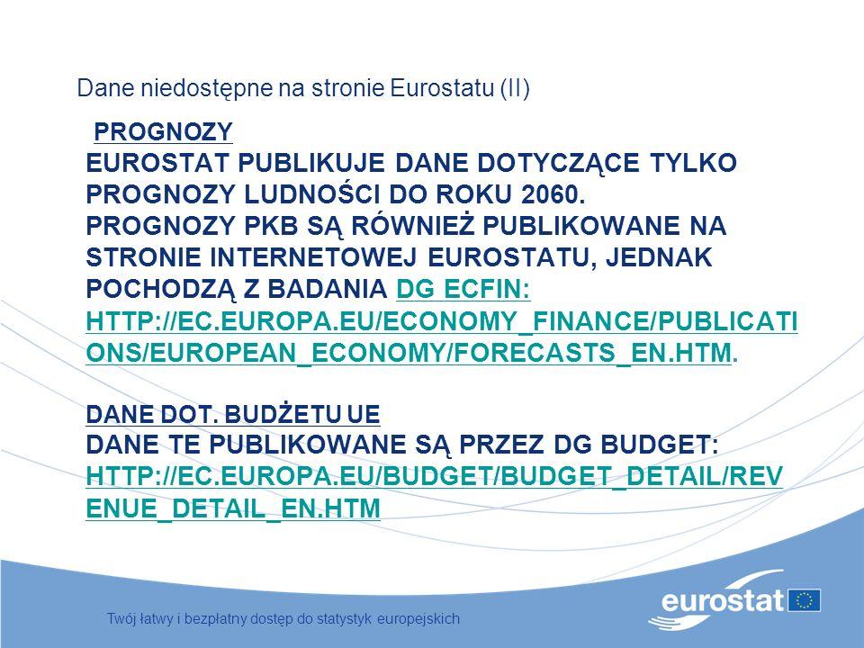 Dane niedostępne na stronie Eurostatu (II)