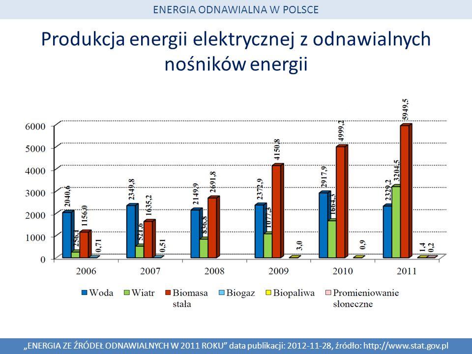 Produkcja energii elektrycznej z odnawialnych nośników energii