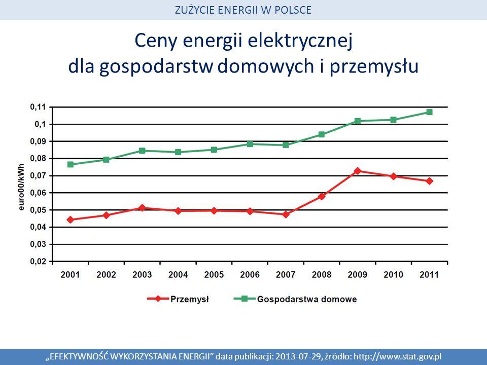 Ceny energii elektrycznej dla gospodarstw domowych i przemysłu