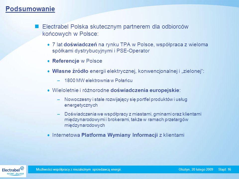 Podsumowanie Electrabel Polska skutecznym partnerem dla odbiorców końcowych w Polsce:
