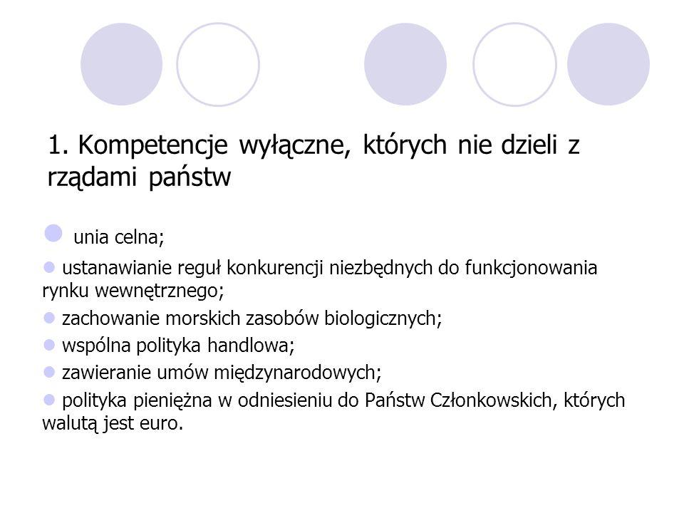 1. Kompetencje wyłączne, których nie dzieli z rządami państw