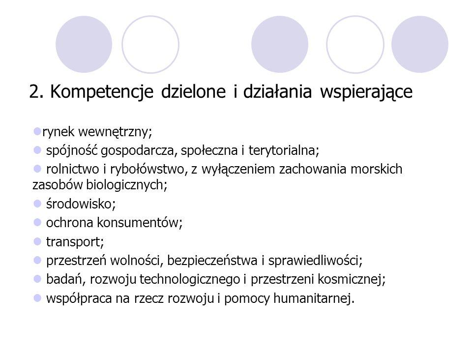 2. Kompetencje dzielone i działania wspierające