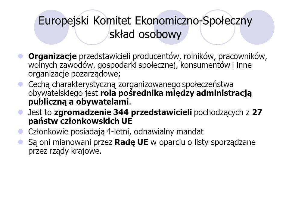 Europejski Komitet Ekonomiczno-Społeczny skład osobowy