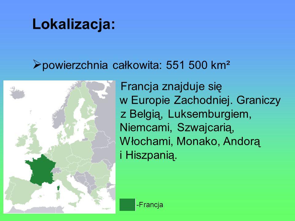 Lokalizacja: powierzchnia całkowita: 551 500 km²