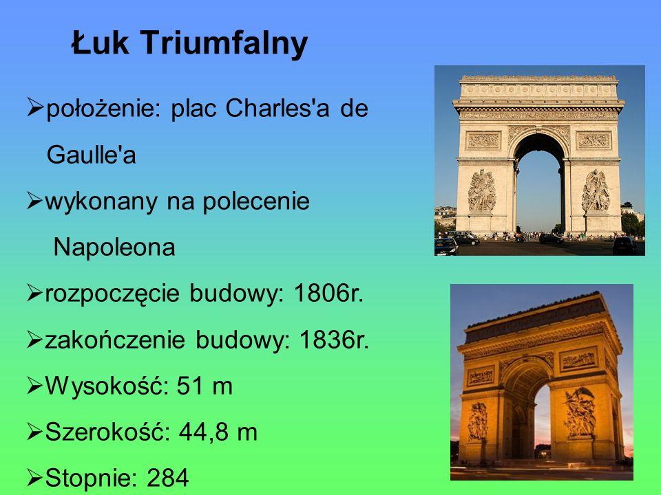 Łuk Triumfalny położenie: plac Charles a de Gaulle a