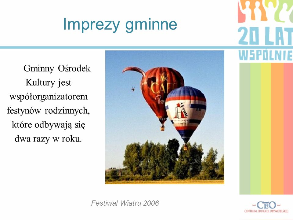 Imprezy gminne Gminny Ośrodek Kultury jest współorganizatorem festynów rodzinnych, które odbywają się dwa razy w roku.