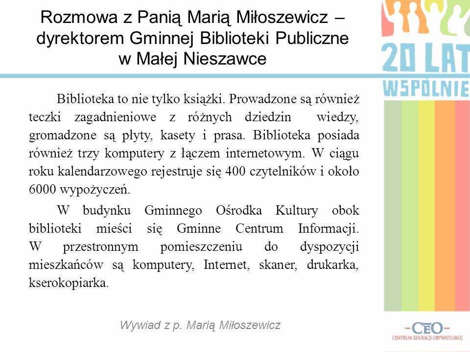 Wywiad z p. Marią Miłoszewicz