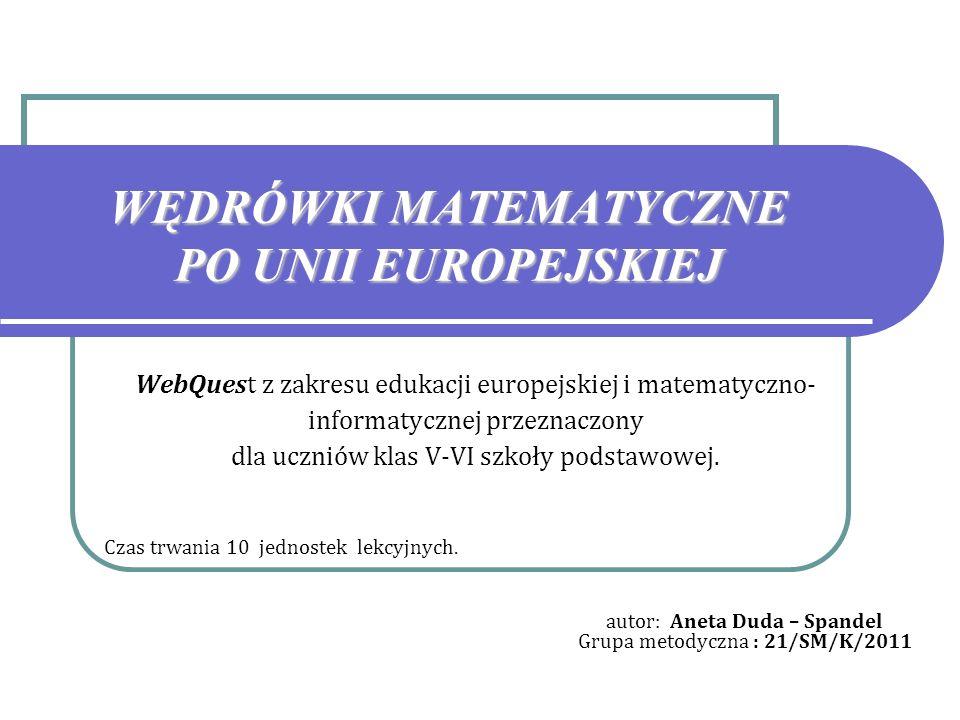 WĘDRÓWKI MATEMATYCZNE PO UNII EUROPEJSKIEJ