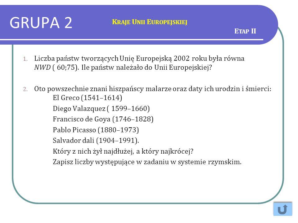 GRUPA 2 Kraje Unii Europejskiej Etap II