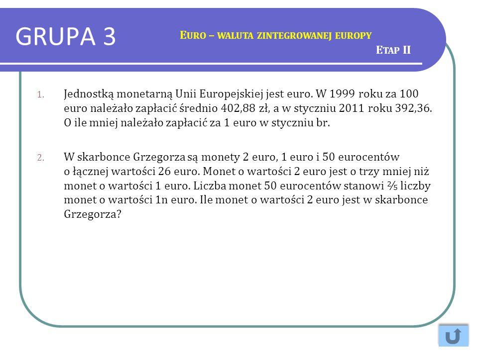 GRUPA 3 Euro – waluta zintegrowanej europy Etap II