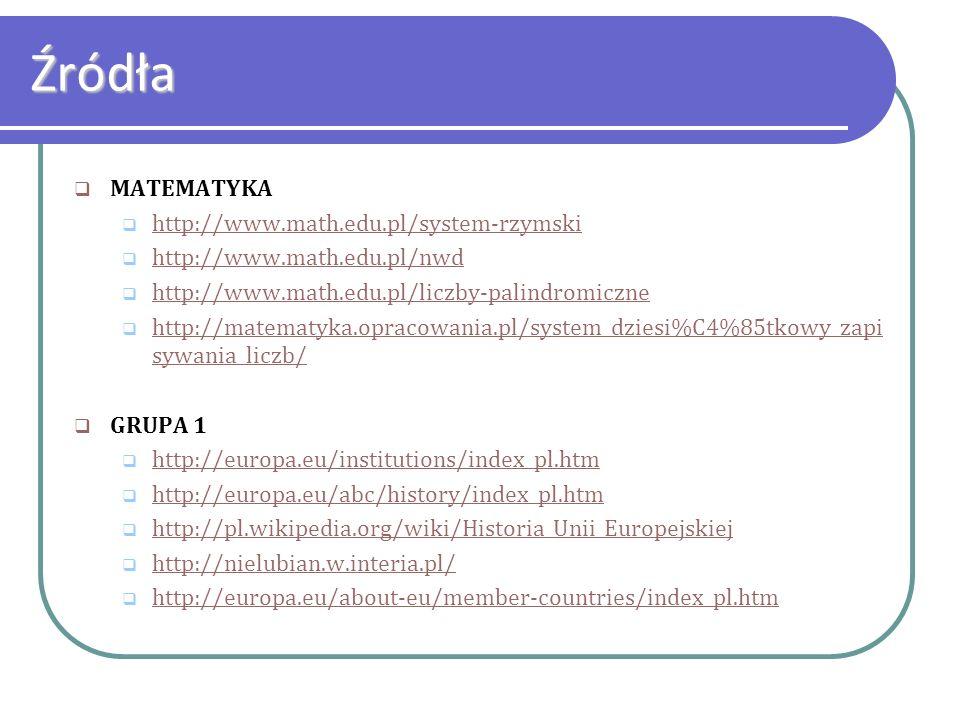 Źródła MATEMATYKA http://www.math.edu.pl/system-rzymski