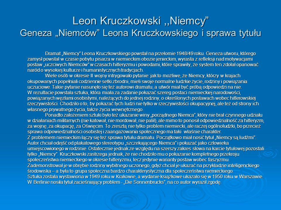 """Leon Kruczkowski ,,Niemcy Geneza """"Niemców Leona Kruczkowskiego i sprawa tytułu"""