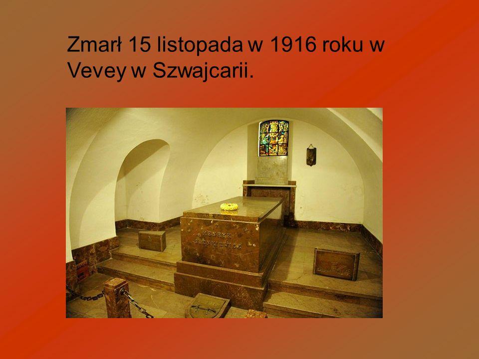 Zmarł 15 listopada w 1916 roku w Vevey w Szwajcarii.