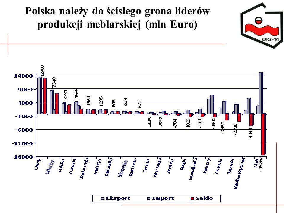 Polska należy do ścisłego grona liderów produkcji meblarskiej (mln Euro)