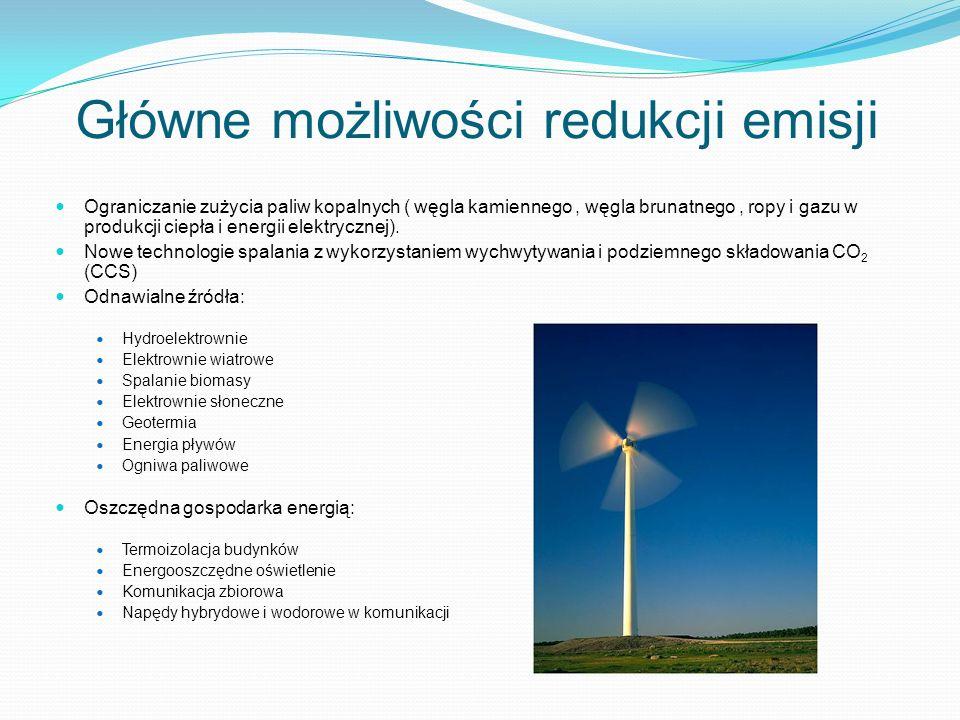 Główne możliwości redukcji emisji