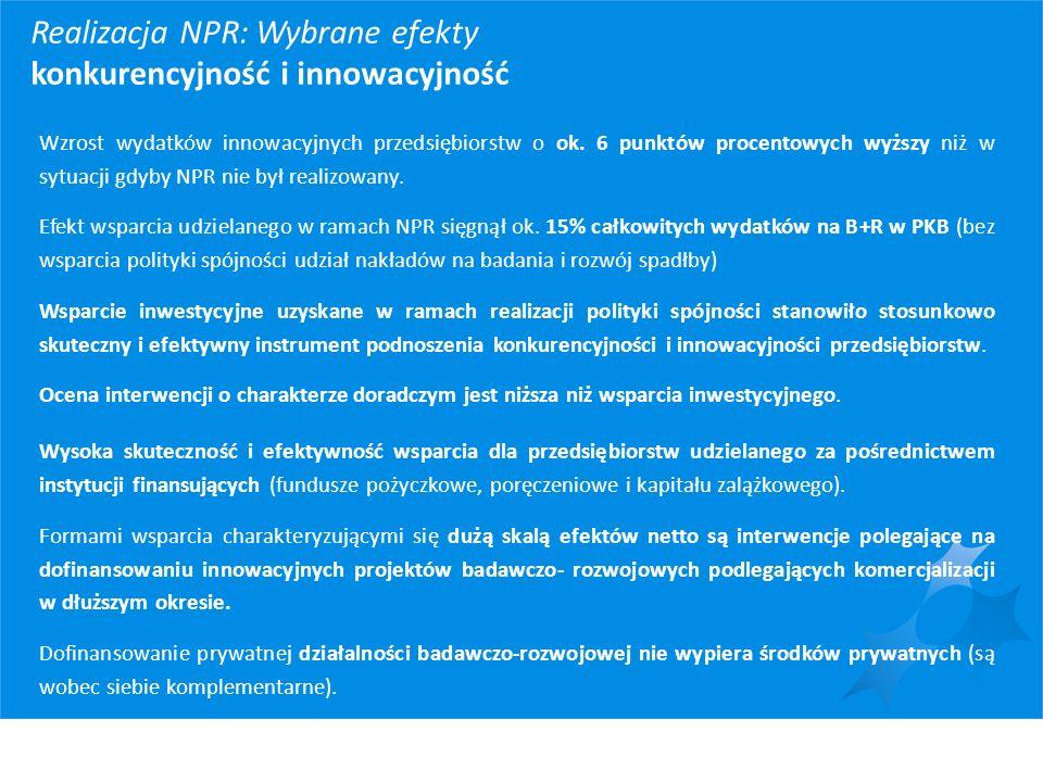 Realizacja NPR: Wybrane efekty konkurencyjność i innowacyjność