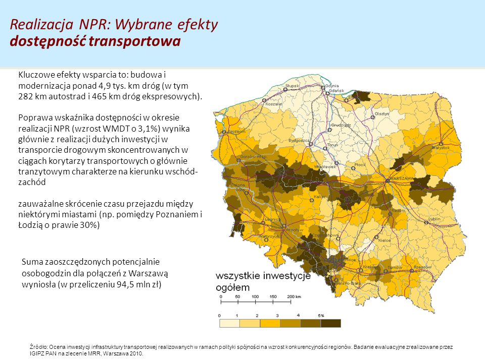 Realizacja NPR: Wybrane efekty dostępność transportowa