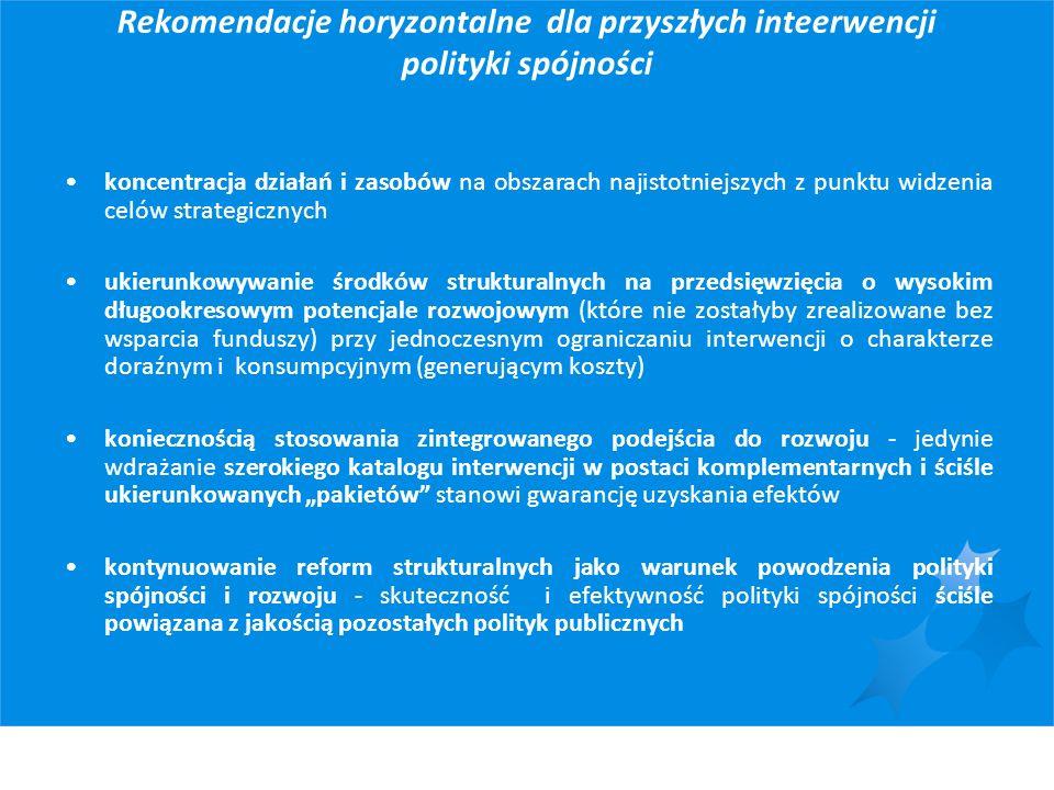 Rekomendacje horyzontalne dla przyszłych inteerwencji polityki spójności