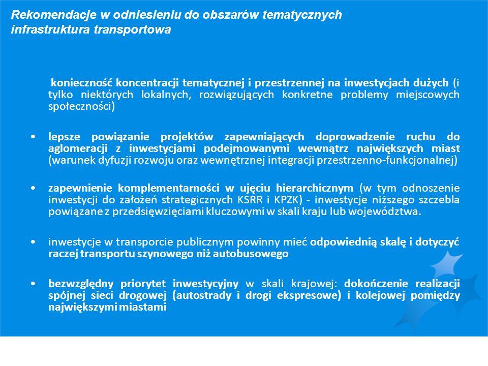 Rekomendacje w odniesieniu do obszarów tematycznych infrastruktura transportowa