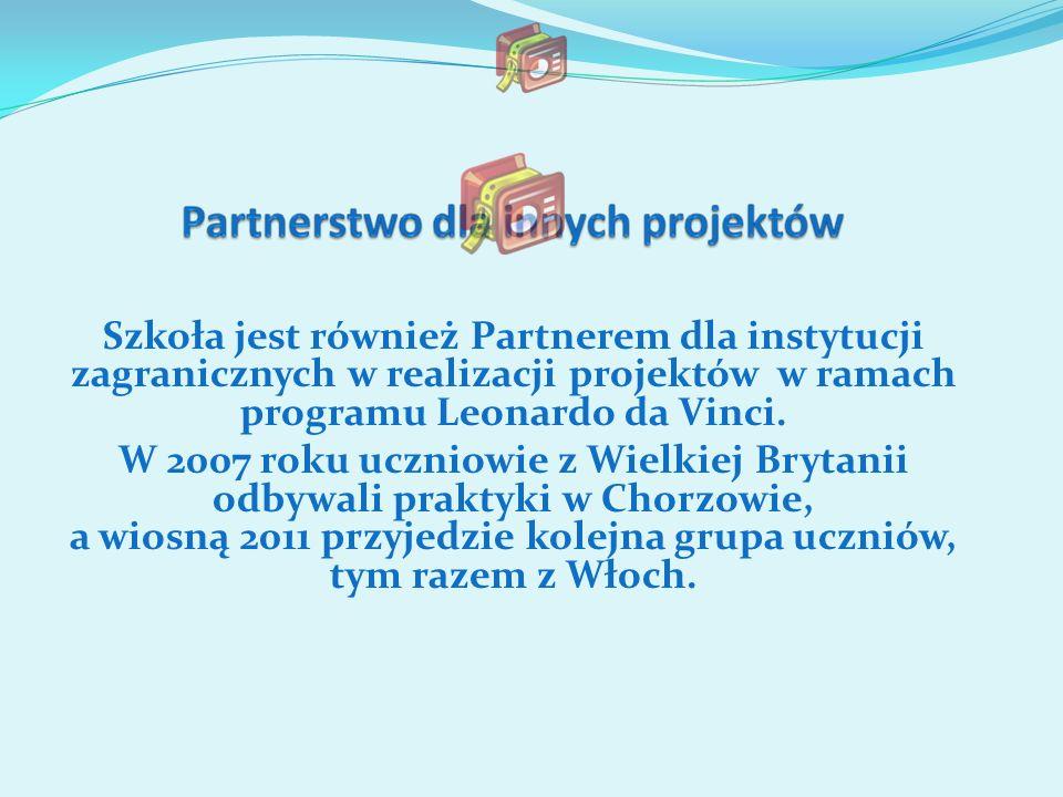 Szkoła jest również Partnerem dla instytucji zagranicznych w realizacji projektów w ramach programu Leonardo da Vinci.
