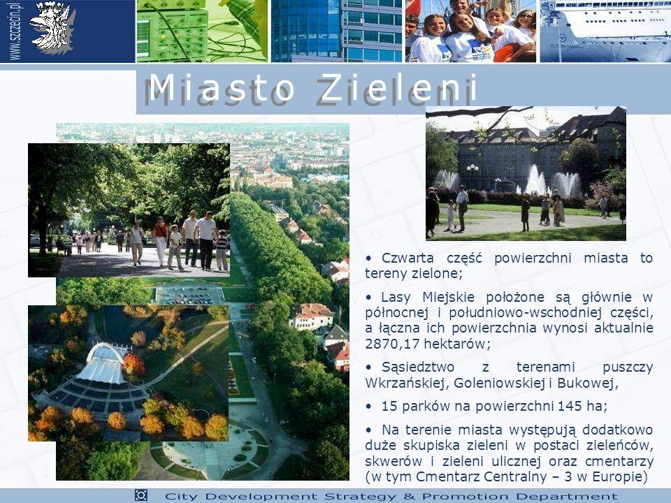 Miasto Zieleni Czwarta część powierzchni miasta to tereny zielone;