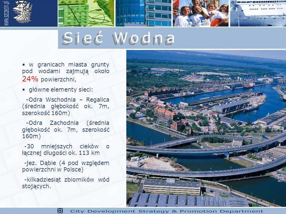 Sieć Wodna w granicach miasta grunty pod wodami zajmują około 24% powierzchni, główne elementy sieci: