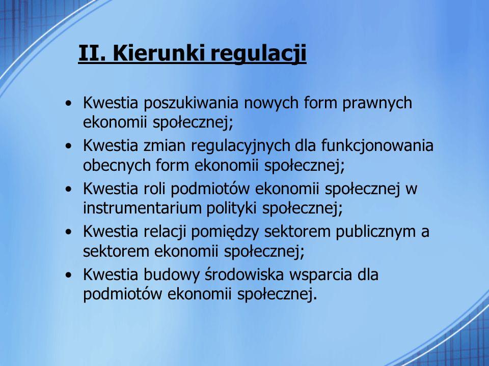 II. Kierunki regulacji Kwestia poszukiwania nowych form prawnych ekonomii społecznej;