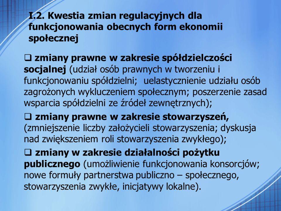 I.2. Kwestia zmian regulacyjnych dla funkcjonowania obecnych form ekonomii społecznej