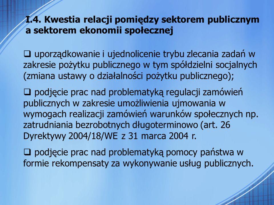 I.4. Kwestia relacji pomiędzy sektorem publicznym a sektorem ekonomii społecznej